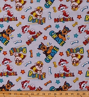 Cotton Paw Patrol Chase, Marshall, & Rubble Dogs Puppies Kids Children's Gray Cotton Fabric Print by the Yard (PW-4343-0C-2GRAY)