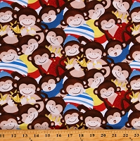Cotton Toys Banana Animals Monkey Business Brown Cotton Fabric Print by the Yard (9315-81)