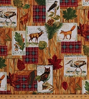Cotton Animals Wildlife Foxes Red Deer Owl Northwoods Woodland Nature Woodsy Cabin Lodge Fall Retreat Plaid Patches Cotton Fabric Print by the Yard (112-30221)