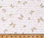 Cotton Butterfly Butterflies Words Script Cream Cotton Fabric Print by the Yard (C7975-CREAM)