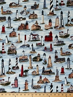 Cotton Lighthouses Famous American Lighthouses Landmarks Nautical Ocean Bayshore Collection Cotton Fabric Print by the Yard (EWC-11291-60)