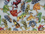 Cotton Leaping Frogs Frog Types Amphibians Blue Water Drop Cotton Fabric Print by the Yard (cp34592)