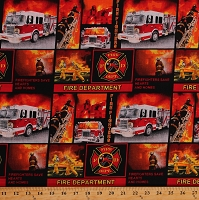 Cotton Firefighters Heroes Rescue Fire Trucks Red Black Cotton Fabric Print by the Yard (9945)