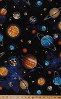 Cotton Outer Space Planets Suns Stars Solar System Galaxy Universe Cotton Fabric Print by the Yard (AGW-14606-11-ROYAL)