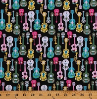 Cotton Guitars Trumpets Instruments Fiesta Black Cotton Fabric Print by the Yard (51950-1)