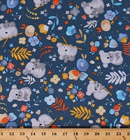 Cotton Australian Koalas Baby Koala Bears Flowers Blue Cotton Fabric Print by the Yard (52062-2)