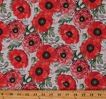 Cotton Poppies Flowers Letters Bloom Vintage Poppies Alone Cream Cotton Fabric Print by the Yard (RN-124655-20127)