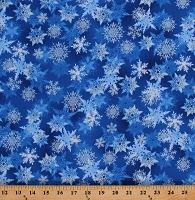 Cotton Snowflakes Allover on Cobalt Blue Silver Snow Holiday Christmas Winter's Pearl Metallic Silver Shimmer Glitter Cotton Fabric Print by the Yard (7750P-55)