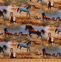 Cotton Wild Horses Herd Paint Horse in the Prairie Equestrian Western Southwestern Cotton Fabric Print by the Yard (WW-3060-6C-1MULTI)