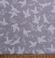 Cotton Cranes Grey Gray Birds Animals Cotton Fabric Print by the Yard (9928-90)