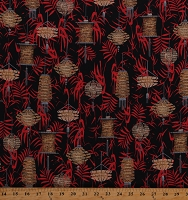 Cotton Asian Lanterns Lights Asia Black Cotton Fabric Print by the Yard (9932-99)