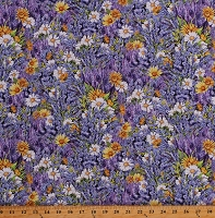 Cotton Wildflowers Flowers Floral Daises Lavender Spring Garden Gardening Everyday Favorites Cotton Fabric Print by the Yard (AMK-17447-23 LAVENDER)