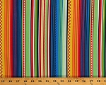 Cotton Mexican Style Stripes Colorful Patterned Striped Cotton Fabric Print by the Yard (7310R-5C)