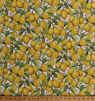 Cotton Lemons Fresh Fruits Leaves Flowers on White Down on the Farm Kitchen Cotton Fabric Print by the Yard (AMKD-19303-137LEMON)