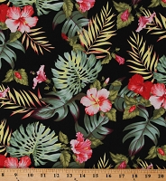 Cotton Hawaii Hibiscus Leaves Flowers Tropical Paradise Floral on Black Cotton Fabric Print by the Yard (RPH15484)