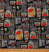 Cotton Food Words Kitchen Decor Vegetables Homegrown Salsa Black Cotton Fabric Print by the Yard (19970-14)