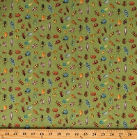 Cotton Bugs Insects Beetles Ladybugs Nature Trail Digital Green Cotton Fabric Print by the Yard (1236-60)