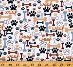 Cotton Dogs Pets Puppies Paw Prints Bones Woof Animals Cream Cotton Fabric Print by the Yard (DOG-C2372-CREAM)