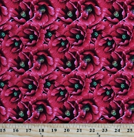 Cotton Flowers Garden Packed Poppies Red Cotton Fabric Print by the Yard (23605-99)