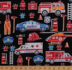 Cotton Fireman Firemen Police Ambulance EMS Sheriff Emergency Medical Services Black Cotton Fabric Print by the Yard (9736GL-12)