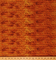 Cotton Declaration of Independence America Defenders of Freedom We the People Constitution Preamble Orange Gold Fabric Print by the Yard (11210921)