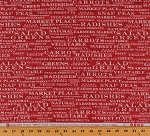 Cotton Vegetables Names Farmer's Market Place Words Gardening Kitchen Cooking Food Names on Red Distressed Look Cotton Fabric Print by the Yard (43204)