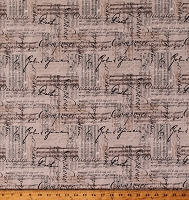 Cotton Classical Music Musical Notes Treble Bass Clef Staff Bars Musicians Symphony Orchestra Ecru Cotton Fabric Print by the Yard (ZD-74699-001)