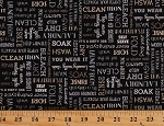 Cotton Laundry Day Phrases Sayings Words on Black Washing Washroom Homemaker Loads of Fun Cotton Fabric Print by the Yard (4888-99)