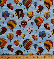 Cotton Hot Air Balloons in Blue Sky Balloon Festival Ballooning In Motion Cotton Fabric Print by the Yard (406BLUE)
