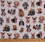 Cotton Dogs with Food Donuts Snacks Woodland Animals Birds Farm Animals on Cream Humorous Doggie Drama Cotton Fabric Print by the Yard (7330CREAM)