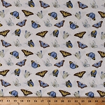 Cotton Butterflies Blue Butterfly Insects Bugs Spring My Sunflower Garden White Cotton Fabric Print by the Yard (1382-7)