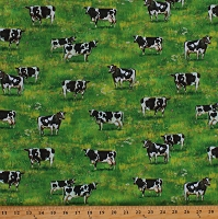 Cotton Dairy Cows in Pastures Farm Animals Livestock Country Farming Down on the Farm Cotton Fabric Print by the Yard (AZSD-18750-276 COUNTRY)