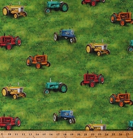 Cotton Multi-Color Tractors Allover on Green Pastures Country Farming Farmers Down on the Farm Transportation Cotton Fabric Print by the Yard (AZSD-18866-276 COUNTRY)