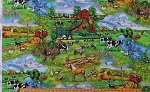 Cotton Country Farm Scenes Animals Pasture Scenery Farmers Life Red Barns Barnyard Animals Flowers Down on the Farm Cotton Fabric Print by the Yard (AZSD-18749-276 COUNTRY)