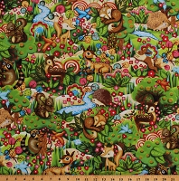 Cotton Cute Baby Animals Squirrel Bunny Fox Hedgehog Fawn Flowers Woodland Friends Kids Cotton Fabric Print by the Yard (120-13651)