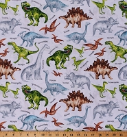 Cotton Dinosaurs Dinos T-Rex Velociraptor Plesiosaur Triceratops on White Kids Cotton Fabric Print by the Yard (DINO-C7219-WHITE)