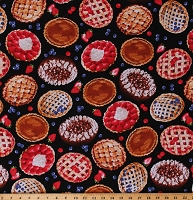 Cotton Fruit Pies Desserts Food Berries Strawberries Blueberries on Black Cotton Fabric Print by the Yard (MICHAEL-C6979-BLACK)