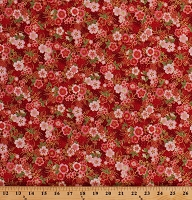 Cotton Cherry Blossoms Flowers Pink Blossoms Blooms Floral on Red Gold Shimmer Asian Imperial Collection Metallic 15 Cotton Fabric Print by the Yard (AHYM-18625-3RED)