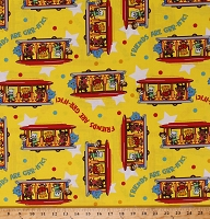 Cotton Daniel Tiger Neighborhood Friends Kids Animals on Yellow Cotton Fabric Print by the Yard (15055Y)