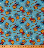 Cotton Daniel Tiger's Neighborhood Cute Kids Character Ugga Mugga on Blue Cotton Fabric Print by the Yard (15039B)