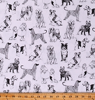 Cotton Animals Dogs Puppies Sketches Drawings Cotton Fabric Print by the Yard (DOG-C8240-WHITE)
