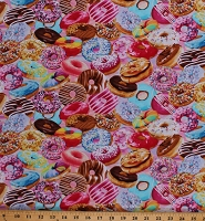 Cotton Donuts Colorful Doughnuts Allover Food Sweets Desserts Bakery Summer Snacks Multi-Color Cotton Fabric Print by the Yard (MICHAEL-C6977-BRIGHT)