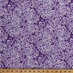 Cotton Flowers Small Purple Heliotrope Floral Garden Spring Isabelle Cotton Fabric Print by the Yard (ISABELLE-C6480-PURPLE)