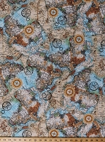 Cotton Maps Map of Africa Travel African Continent Cartography Compass Cotton Fabric Print by the Yard (WILD-C7234-MULTI)
