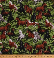 Cotton Horses Allover Realistic Horses Stallion Galloping in Pasture Equestrian Farm Animals Ranch Country Horseplay Cotton Fabric Print by the Yard (OA6012501)