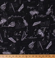 Cotton Musical Instruments Harps Violins Pianos on Black Music Terms Names Maestro Orchestra Classical Musicians In Harmony Cotton Fabric Print by the Yard (SRKMD-18536-2BLACK)