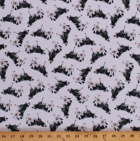Cotton Cows Allover on White Farm Animals Country Barnyard Livestock Silo Cotton Fabric Print by the Yard (50609-1)
