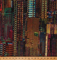 Cotton Skyscrapers Buildings Vibrant Abstract City Scenes City Dreams Multicolor Cotton Fabric Print by the Yard (S4787-667-LIGHTBRIGHT)