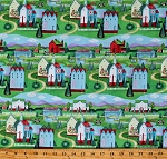 Cotton Jim Shore Villages Farms Farmhouses Houses Farm Animals Multicolor Cotton Fabric Print by the Yard (61503-6470715)