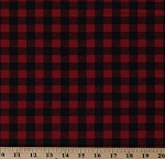Cotton Plaid Red and Black Checks Checkered Squares Holiday Lodge Barn Red Black Cotton Fabric Print by the Yard (19897 12)